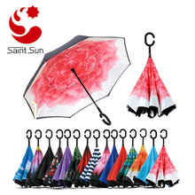 Double Layer Inverted Umbrella with C-Shaped Handle