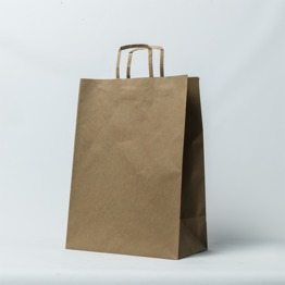 Flat paper handle plain brown kraft paper bag