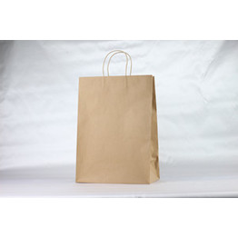 Plain Brown bolsas de papel Kraft con asa retorcida