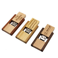 360 degree rotation wooden memory stick