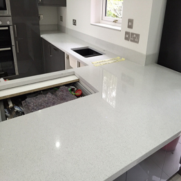 Artificial Stone Quartz Crystal White Kitchen Countertops