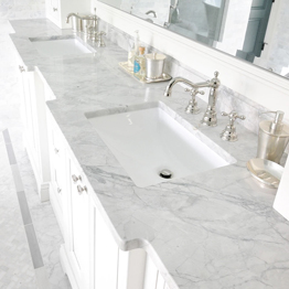 Customized Bianco Carrara White Marble Bathroom Vanity Tops
