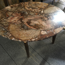Natural Brown Wood Fossil Agate Round Coffee Table Bar Top Wholesale