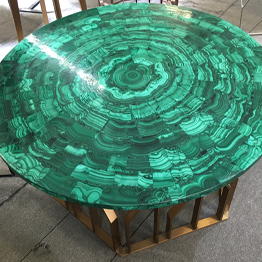 Natural Green Malachite Semiprecious Stone Round Coffee Table Bar Top Wholesale