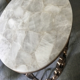 Natural White Crystal Quartzite Semiprecious Stone Round Coffee Table Bar Top Wholesale
