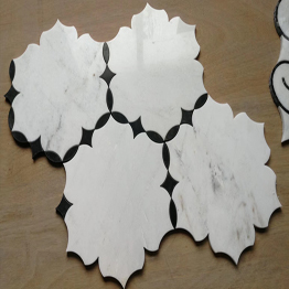 Natural White Marble Mix Black Marble Mosaic Tile