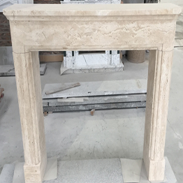 Beige Travetino Marble Indoor Stone Fireplace Carving