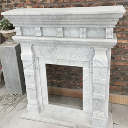 Bianco Carrara Marble  Indoor Stone Fireplace Carving