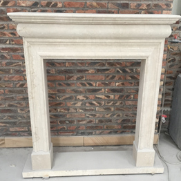 Botticino Marble  Indoor Stone Fireplace Carving