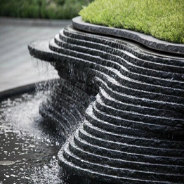 China Black Granite Pool Coping and Fountain