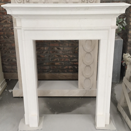 Crema Bello White Limestone Indoor Stone Fireplace Carving