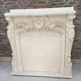 Sunny Beige Marble Indoor Stone Fireplace Carving