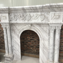 Volakas White Marble Indoor Stone Fireplace Carving