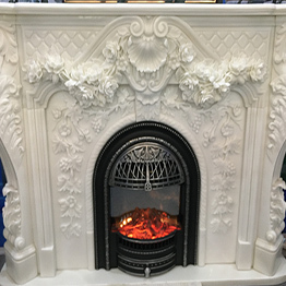 Luxury Stone Pure White Onyx Indoor Fireplace Carving