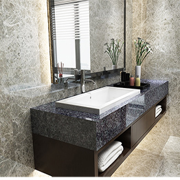 Leopard Black Pearl Black Granite Bathroom Vanity Top Wholesale
