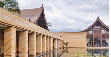 Tingida Stone Finished One Hotel & Resort With Yellow Wooden Sandstone to Bangkok, Thailand.