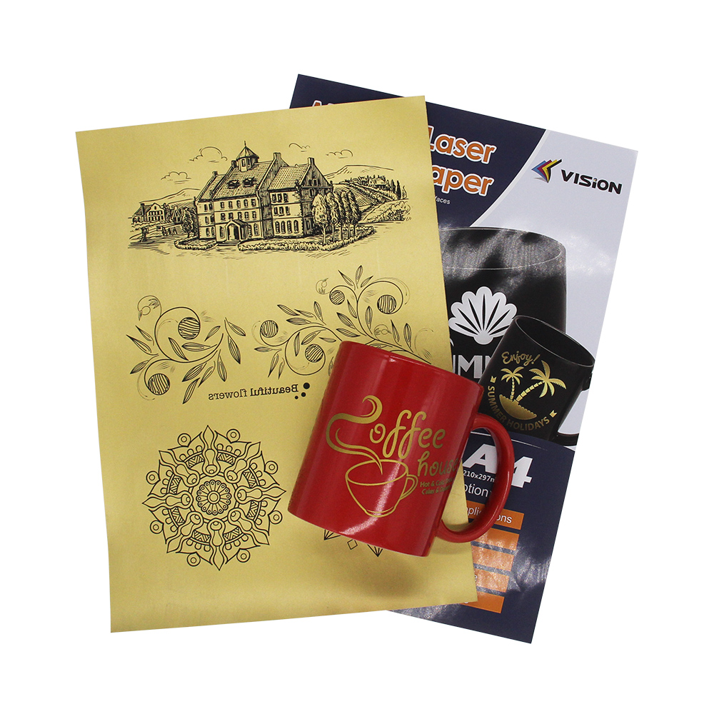 Metallic gold laser transfer paper on uncoated hard surface