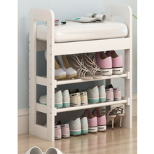 Promotional Japanese Style home furniture living room double-layer footstool shoe cabinet shoes changing stool BS 4024-90
