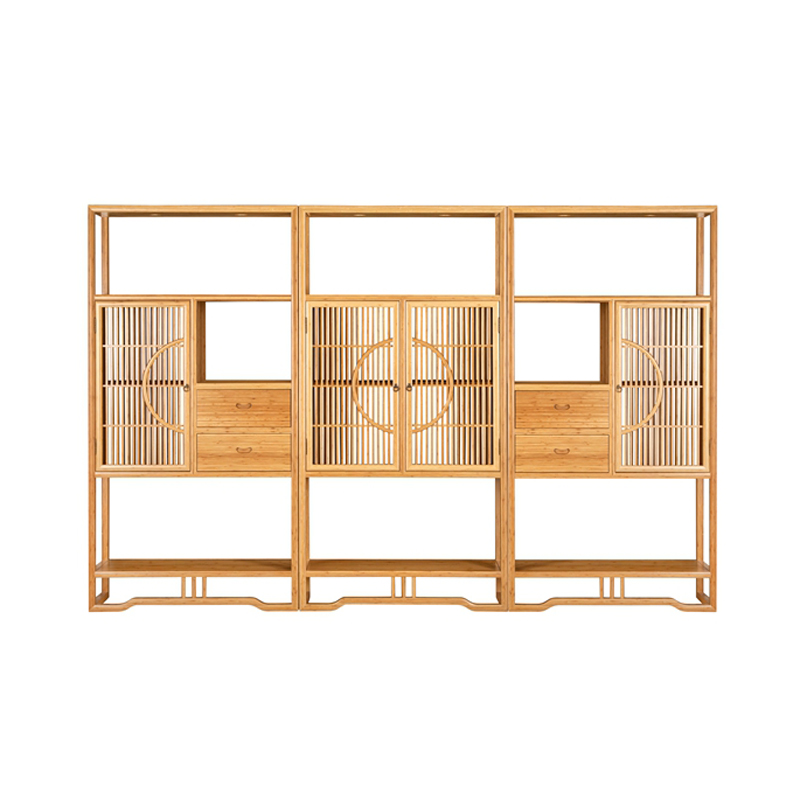 Bamboo Tea Display Cabinet Set Grilled Double Doors  ZSGZH 001