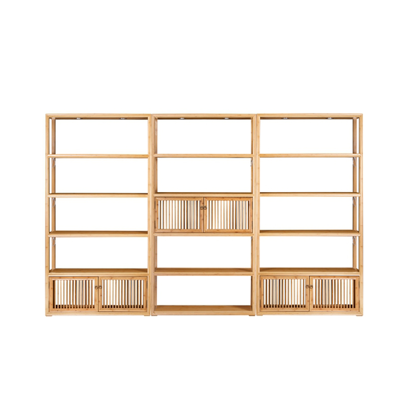 Bamboo Tea Display Cabinet Set Middle Bottom Doors  ZSGZH 002