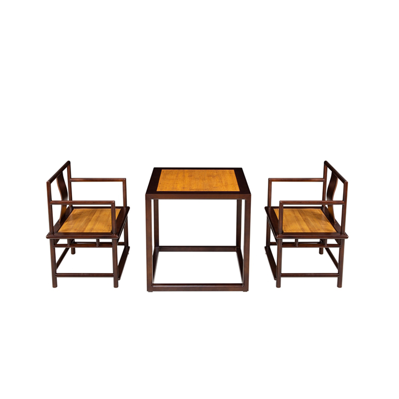 Bamboo Tea Table&Chairs Set Black Square Type ZYZH 002