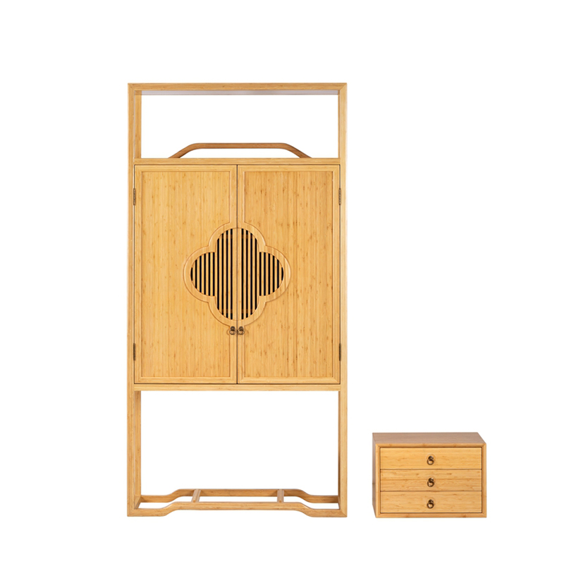 Bamboo Tea Display Cabinet Set Middle Door&Three Drawers ZSGZH 005