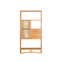 Bamboo Tea Display Cabinet Set Middle Door Three Drawers ZSGZH 006