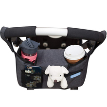 Double stripe pram buggy  stroller caddy bag