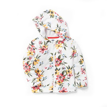Floral french terry zip hoodie for toddler girls baby clothes on sale