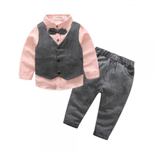 3 piece cool Bow tie shirt and vest and pants set