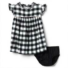 New design cotton child girl black plaid pearl dress