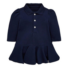 Wholesale custom cotton fashion children kids baby long sleeve girl dress