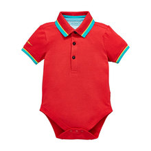 Baby cotton boys polo collar bodysuit