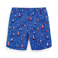 Boys' no diaper cartoon print little kids boxer swim shorts