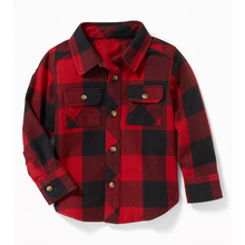 Best selling black red plaid shirt toddler boy