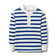 Kids tops boys autumn striped pique t shirt
