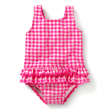 Dotted  pleated skirted flounce polyester suits children kids swimwear