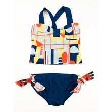 Geometric  cross back set kids swimwear