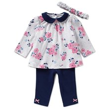 wholesales kids girls baby clothing floral printed top ruffle leggings 2pc set