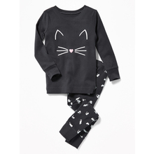 OEM Children Cozy Pajamas Kids Girls' Cat Hooded Fleece Sleepwear Sets High Quality