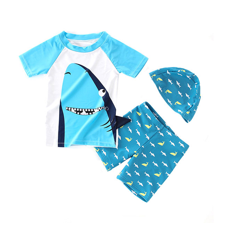 Wholesale Cotton Lining Seersucker Swimsuit Kids Swimwear Set