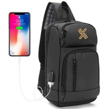 commuting business USB charge sling bag