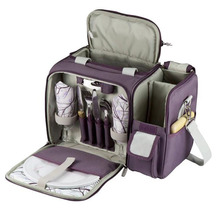 Equipped Insulated Picnic Cooler Bag with Service for 2 Person