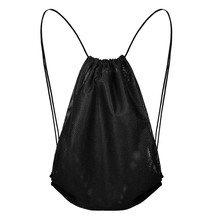 Sport Gym Mesh Equipment Bag Training String Shoulder Rucksack Swimming Beach Drawstring Swimming Bag