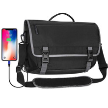Messenger bag laptop briefcase with usb charging port waterproof satchel bag crossbody for business travel college
