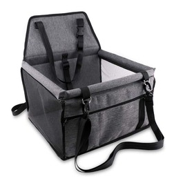 Portable and breathable bag with seat belt dog carrier safety for travel with clip on leash and storage package pet car seat