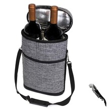 Travel wine carrier picnic wine tote bag with padded protection portable wine cooler carrying bag camping wine bag
