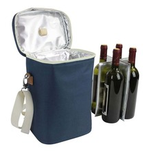 Insulated wine tote personalized wine carrier bag travel padded wine cooler picnic wine bag