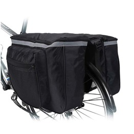 Bicycle Pannier Water Resistant Double Pocket Bike Rear Rack Storage Bag Foldable Bike Saddle Basket Bag