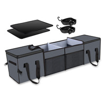 Portable Multi Compartments Car Storage with Insulation Cooler Bag for SUV Truck Van Collapsible Car Trunk Organizer